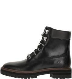 Черные кожаные ботинки на шнуровке Timberland