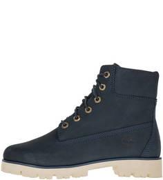 Синие демисезонные ботинки из нубука Timberland