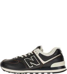 Утепленные кожаные кроссовки черного цвета 574 New Balance