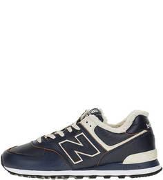 Утепленные кожаные кроссовки синего цвета 574 New Balance