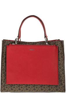 Сумка коричневого цвета с дополнительной маленькой сумкой Dkny