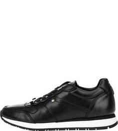 Черные кожаные кроссовки на шнуровке Tommy Hilfiger