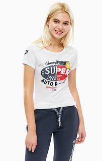 Трикотажная белая футболка с принтом Superdry