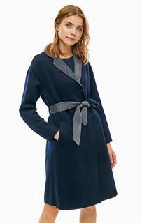 Пальто синего цвета с поясом Armani Exchange