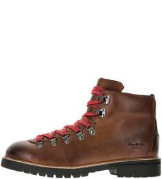 Демисезонные кожаные ботинки коричневого цвета Pepe Jeans