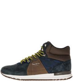 Высокие кроссовки из замши и текстиля Pepe Jeans