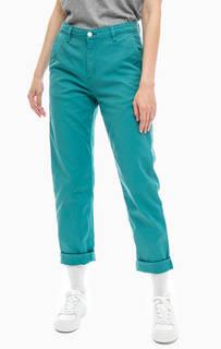 Бирюзовые брюки из хлопка Carhartt WIP