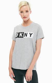 Серая футболка из хлопка Dkny