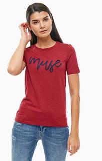 Бордовая футболка из хлопка Marc Opolo