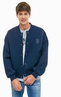 Синяя трикотажная куртка-бомбер на кнопках Tommy Jeans