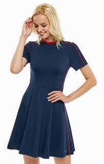 Короткое синее платье из вискозы Tommy Hilfiger