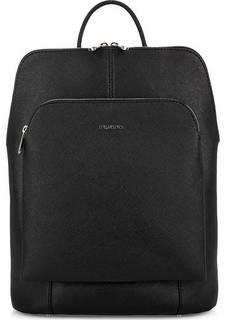 Черная кожаная сумка-рюкзак с одним отделом на молнии Fiato