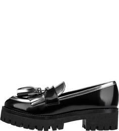 Лоферы черного цвета на массивном каблуке и платформе Pollini