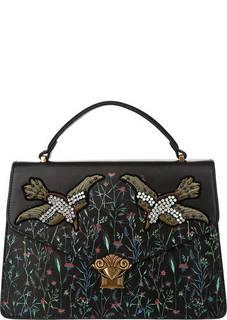 Черная сумка с вышивкой Tosca Blu