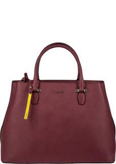Бордовая кожаная сумка с двумя отделами Cromia