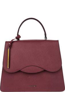 Бордовая кожаная сумка в форме трапеции Cromia