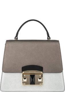 Серебристая кожаная сумка в форме трапеции Cromia