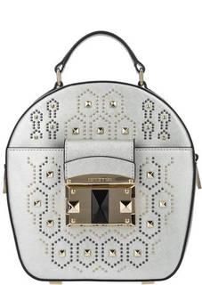 Серебристая кожаная сумка с металлической отделкой Cromia