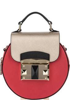 Красная кожаная сумка круглой формы Cromia