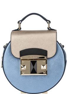 Синяя кожаная сумка круглой формы Cromia