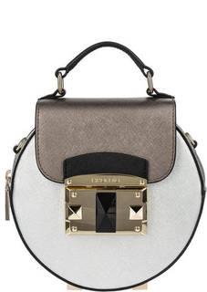 Серебристая кожаная сумка круглой формы Cromia