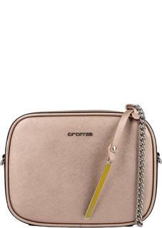 Маленькая золотистая сумка из натуральной кожи Cromia