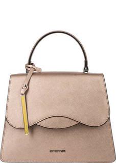 Золотистая кожаная сумка с двумя отделами Cromia