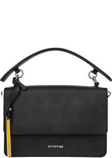 Черная кожаная сумка с двумя отделами Cromia