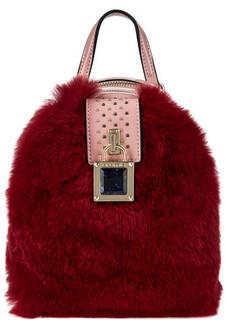 Маленький лаковый рюкзак с меховой отделкой Cromia