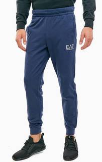 Синие хлопковые брюки джоггеры EA7