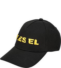 Черная бейсболка с вышивкой Diesel