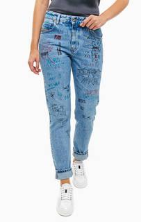 Синие джинсы с принтом Neekhol Diesel