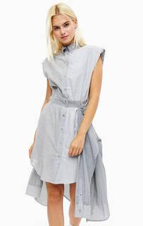 Серое хлопковое платье-рубашка с расклешенной юбкой Diesel