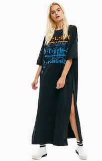 Хлопковое платье с карманом-кенгуру Diesel