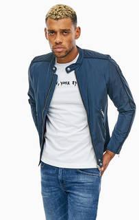 Легкая синяя куртка с застежкой на молнию и кнопку Diesel