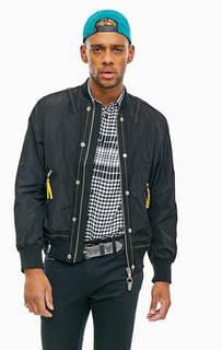 Легкая куртка-бомбер с кожаными нашивками на спине Diesel