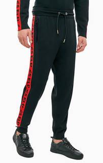 Черные трикотажные брюки джоггеры с лампасами Diesel