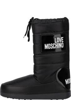 Утепленные полусапоги черного цвета Love Moschino