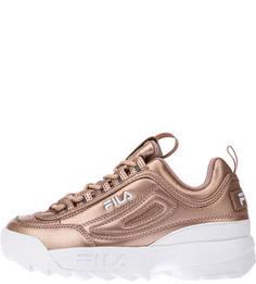 Золотистые кроссовки на платформе Fila