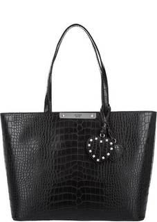 Вместительная сумка в форме трапеции с выделкой под рептилию Guess