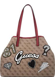 Вместительная сумка с декоративными нашивками Guess