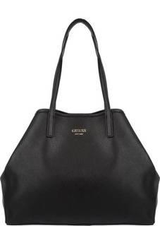 Вместительная черная сумка с длинными ручками Guess