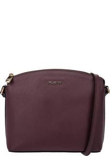 Бордовая кожаная сумка с одним отделом на молнии Fiato