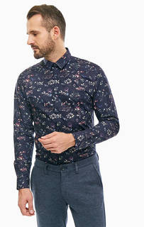 Синяя хлопковая рубашка с цветочным принтом Selected