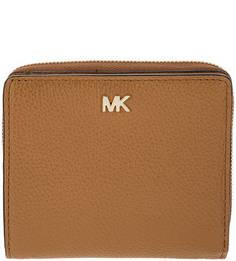 Коричневый кошелек из зерненой кожи Money Pieces Michael Kors