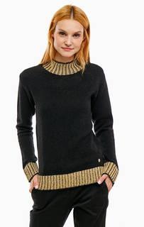 Черный трикотажный свитер с золотистыми вставками Trussardi Jeans