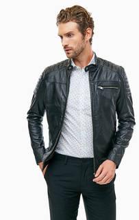 Черная кожаная куртка с застежкой на молнию и кнопку Selected