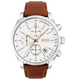 Кварцевые часы с коричневым кожаным ремешком Hugo Boss