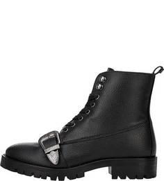 Черные ботинки с декоративной пряжкой Trussardi Jeans