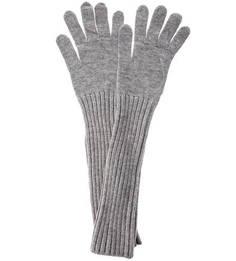 Длинные вязаные перчатки серого цвета Trussardi Jeans